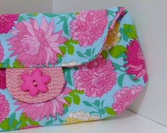 Clutch Purse with Pink Flowers on Light Blue Background Print - cute flower button closure