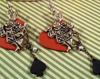 Alice in wonderland, fun, whimsical danlge earrings.