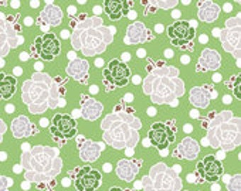 Polka Dot Stitches Main Green by Lori Holt of Bee in My Bonnet for Riley Blake
