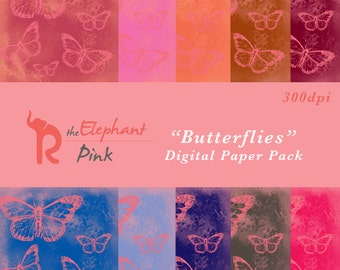 Ephemera Digital Paper, Instant Download Paper Pack, Butterfly Digital Paper, Printable Paper Pack, Scrapbooks Premade Pages