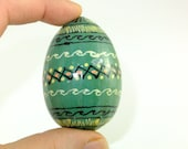 Vintage Russian Handmade Ornated GREEN WOODEN EGG, Handmade Egg Easter Decoration, Decoration for Paques