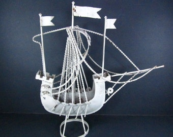 Shabby decor tall ship sculpture , pirate ship, sail boat, vintage ship,nautical decor