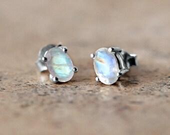Tiny Moonstone Stud Earrings - Sterling Silver