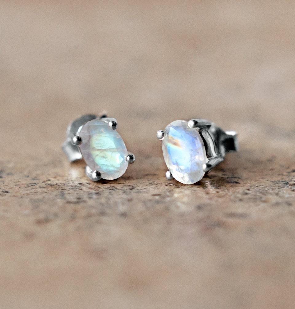 Tiny Moonstone Stud Earrings Sterling Silver