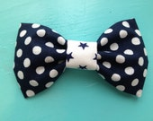 Cloth Bow Hair Clip - Navy Polka Dot with White & Navy Stars Center -- by Antique Elephant - AntiqueElephant