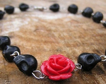 Day of the dead Necklace Black skulls  Red Rose Made to Order