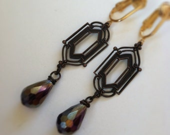 Iridescent Amethyst Purple Victorian Dangle Clip On Earrings