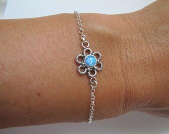 Jewelry, Silver  bracelet, Tiny bracelet, Israel jewelry,Opal bracelet,flower bracelet