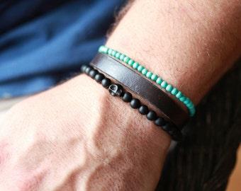 Mens SKULL Bracelet - Skull Bracelet - Mens Black Onyx Stone Skull Bracelet