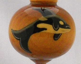Orca Whale Christmas Ornament, Hand Painted Solid Wood Ornament, WBO-07