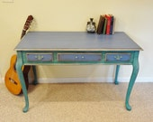 Reserved for Claire - Shabby Chic Bohemian Turquoise and Greek Blue Desk