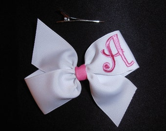 Hair Bow with Initial for Infants