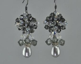 Light Grey Swarovski Crystal Chandelier Earrings with Teardrop Pearl.