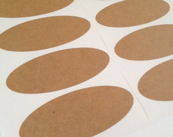 READY TO SHIP: Custom Oval Kraft Paper Sticker Labels Set of 12