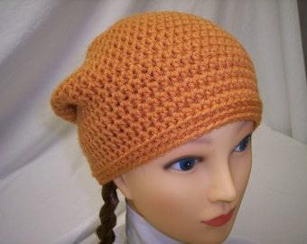 Crochet Slouch Beanie in Orange