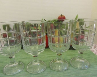 Anchor Hocking Tartan Manchester Goblets Set of four