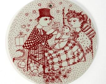 bjorn wiinblad plate nymolle december red denmark fajance danish kontakt vintage retro scandinavian