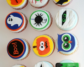 12 Halloween Cupcake Toppers, edible, for parties or any occasion