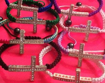 Cross macramé bracelet, cross bracelet, gifts for her, sideways cross jewelry, faith jewelry