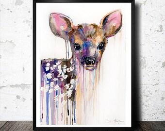 Deer watercolor 3 painting print, Roe Deer,  animal, illustration, animal watercolor, watercolor painting, watercolor portrait