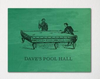 FOR HIM: Custom Billiard Room Print / Pool Room Decor / Custom Message / Custom Colors / Choice of Texture