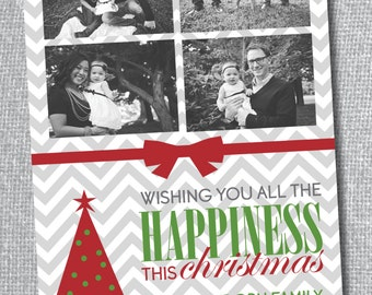 Christmas Card - Photo - All the Happiness Chevron - FREE Christmas print with purchase