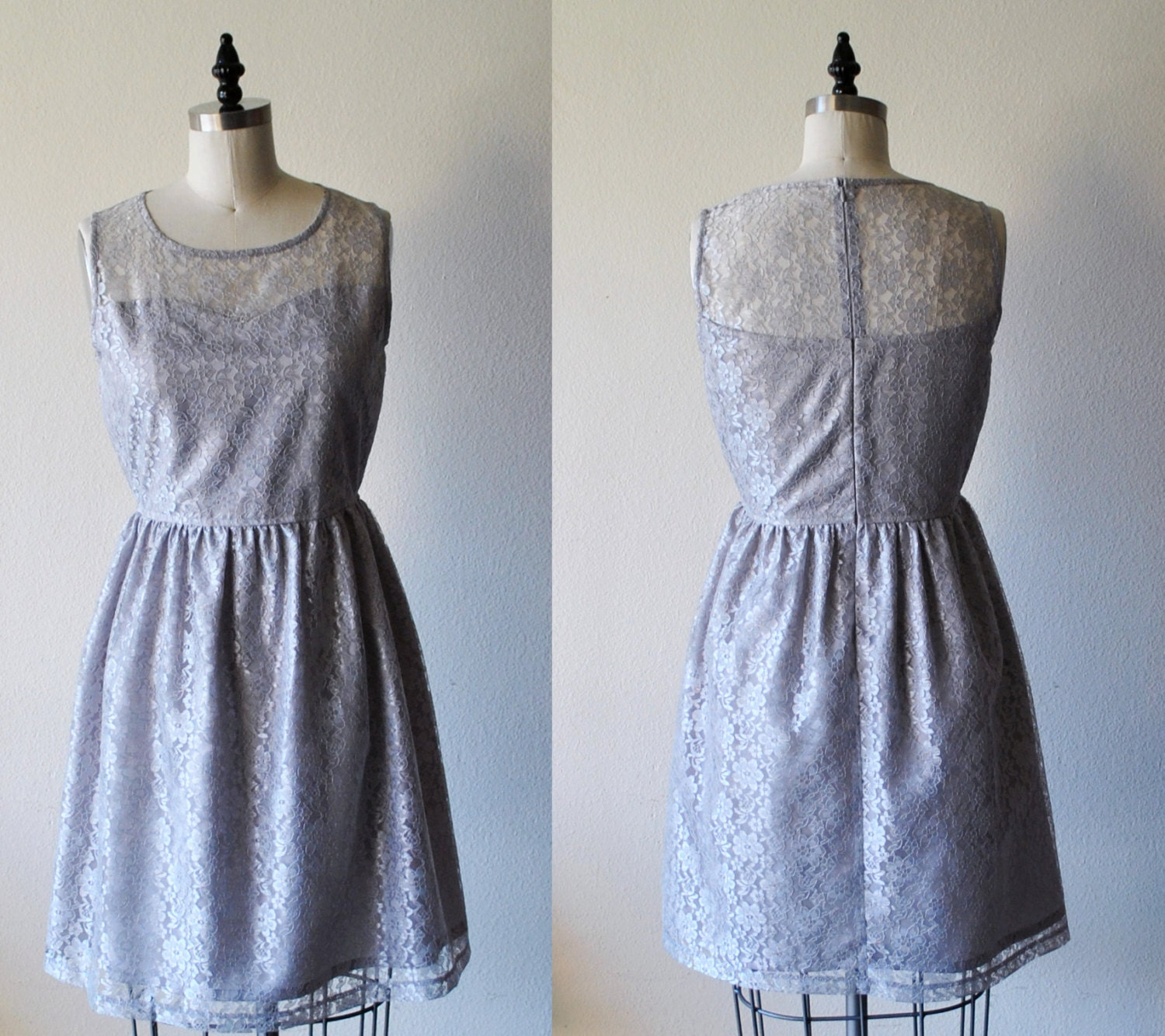 Blue gray lace dress
