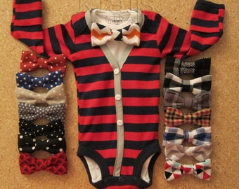 CLEARANCE!!!  Baby Boy Red/Navy Stripe with Grey Cardigan Outfit and Your Choice of 1 Removable Bow Tie (see additional photos for ties)