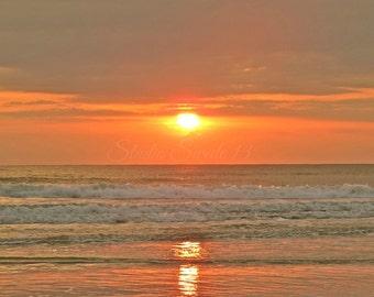 "Beach Photography, Sunrise Print, Landscape Photo, Nature Print, Orange Art, Ocean Print, Summer Florida Photography, Seascape- ""Golden Sun"""