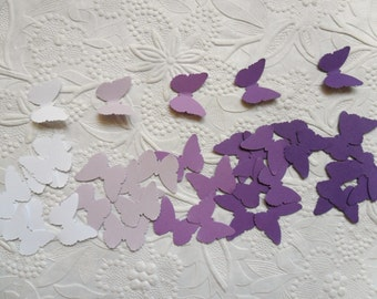 50 White, Light Purple, Purple, Dark Purple Butterfly Confetti-Ombre Purple-1 Inch-Scrapbooking-Embellishments-Baby Shower-Birthday Party