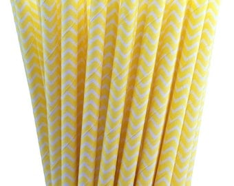 25 Yellow Chevron Paper Straws-7.75 Inches-Party Straws-Shower-Wedding-Party-Biodegradable