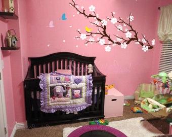 Nursery Wall Decals Cherry Blossom branch wall decals sticker children girl baby wall decals wall sticker wall decor flying birds -DK048