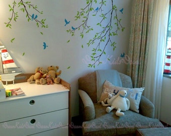 Branch wall decal with flying birds vinyl kids wall decal nursery tree decal branch decal nature wall decal-DK116