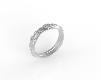 14kt White gold Antique, Ring wedding woman