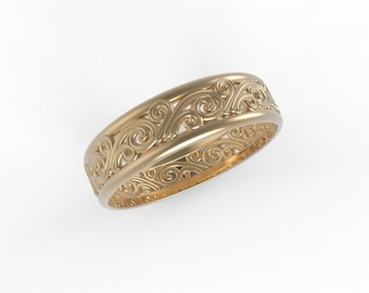 14k Rose gold Antique wedding band, Ring wedding woman