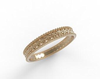 14kt Rose gold Antique wedding band,Ring wedding woman