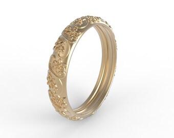 14kt Rose gold antique style , wedding band vintage , wedding band for her