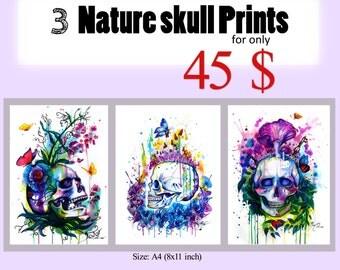 3 Nature skull prints