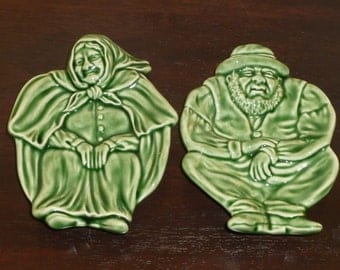 Unique Boradello Pinheiro Pottery - Set of 2 Dishes  Old Man and Old Woman