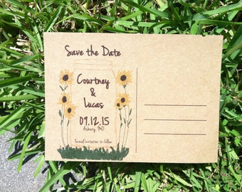 Save the Date Mason Jar with sunflowers-100