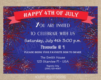 4th of July, digital invitation, patriotic bbq party invitation, red, white and blue party invitation- Digital File - DIY PRINTABLE