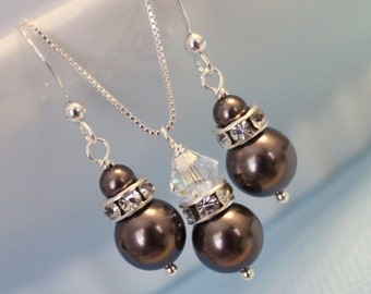 Sterling Silver and Brown Pearl Jewelry Set, Sterling Silver Bridesmaid Set