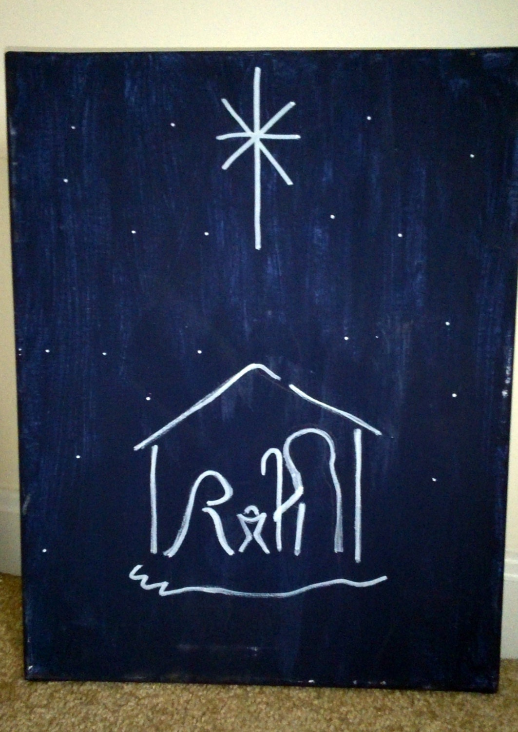 Simple christmas night canvas painting for Christmas canvas painting ideas