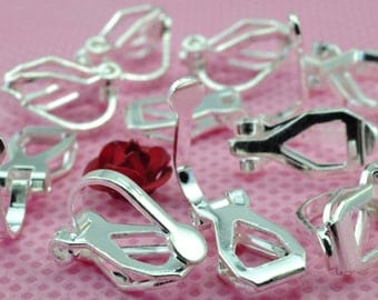 100 pcs of Silver plated ear clip in 8mm WideX 12mm long
