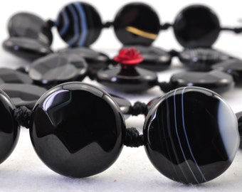 20 pcs of Natural Black Banded Agate faceted flat coin beads in 16mm (01873#)