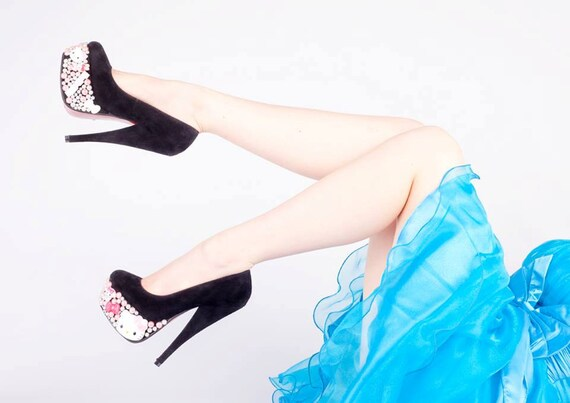 Hello Kitty Prom Party Embellished Platform Heels - Made to Order