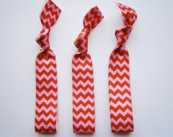 Valentine Chevron - Set of 3 Red & Pink Chevron Hair Ties by Crimson Rose Cottage/Boho Elastic Hair Tie/Boho Soft Bracelet