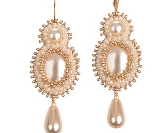 Lucia elegant bridal earrings beige+gold or ivory +silver goldfilled / sterling silver earwires