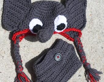 Crochet Elephant Hat & Crochet Diaper Cover (Newborn Photo Prop)