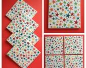 Rainbow Colored Stars Tile Coasters